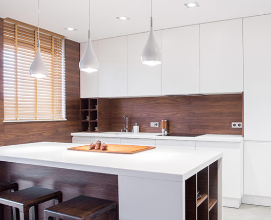Image of modern design spacious light kitchen interior
